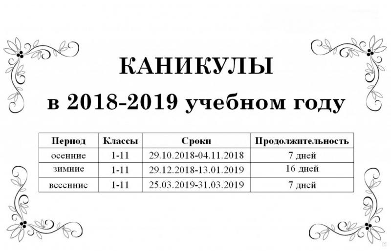 Осенние каникулы в школах России начнутся 29 октября 2018 года