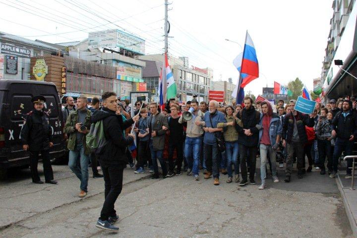 Четырех участников шествия против пенсионной реформы оштрафовали в Новосибирске