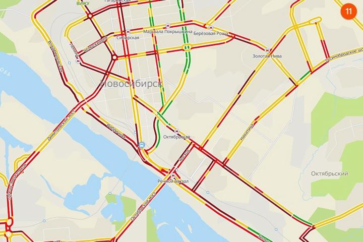 Пробки в Новосибирске оценили в «11 баллов» из 10