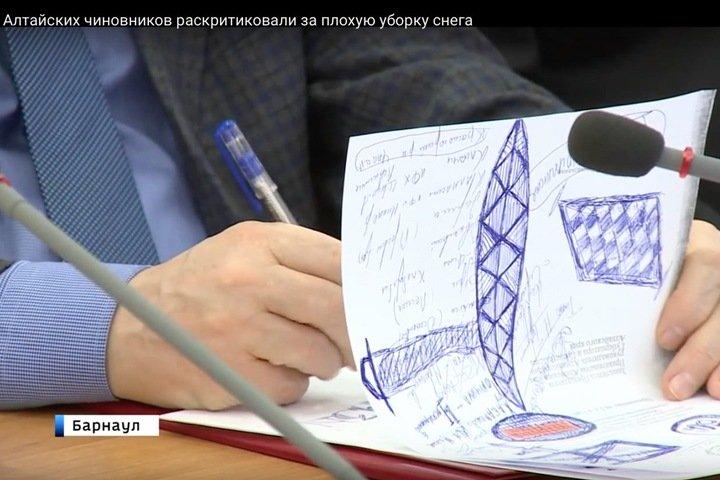 Рисунки алтайского министра на заседании правительства. Фото