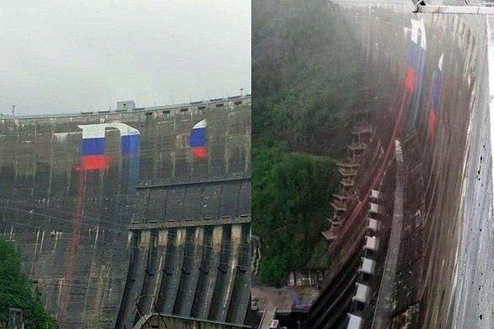 Newslab: Надпись «Россия» на Саяно-Шушенской ГЭС утекла в реку
