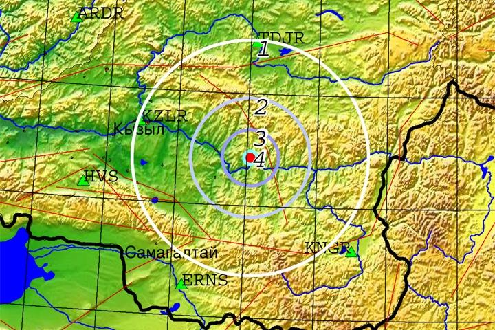 Землетрясение произошло в 100 км от Кызыла